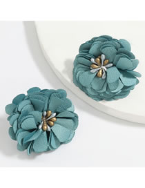 Fashion Green Flower Fabric Alloy Earrings