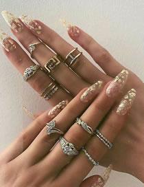 Fashion Gold Color Diamond Geometric Alloy Hollow Ring Set
