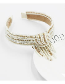 Fashion Pearl Headband Pearl Tassel With Diamonds And Knotted Broad-brimmed Headband