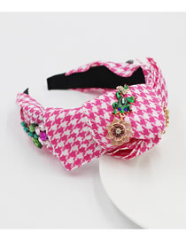 Fashion Pink Cross Bow Flower Diamond Frog Headband