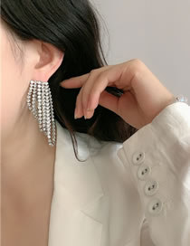 Fashion Silver Color Wear Earrings With Diamond Tassel Alloy Before And After