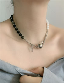 Fashion Silver Color Agate Two-tone Stitching Alloy Necklace