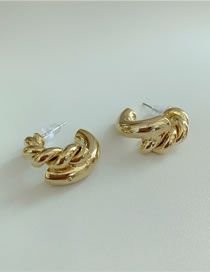 Fashion Gold Color Twisted Rope Alloy Earrings