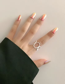 Fashion White Oil Painting Geometric Lines Stacking Hollow Ring