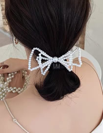 Fashion Spring Clip (about 10*5 Cm In Diameter) Pearl Butterfly Combined With Gold Hollow Spring Clip