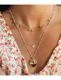 Fashion Golden Round Letter Alloy Multilayer Necklace