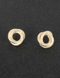 Fashion Golden Ring Hollow Frosted Alloy Earrings