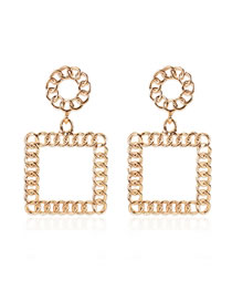Fashion Golden Alloy Geometric Square Hollow Earrings