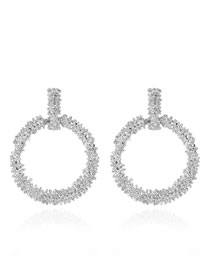 Fashion Silver Alloy Geometric Round Hollow Earrings