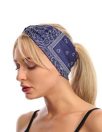 Fashion Navy Cross-print Wide-brim Elastic Elastic Headband