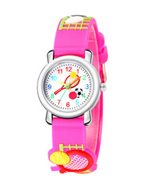 Fashion Rose Red 6d Embossed Tennis Racket Pattern Childrens Sports Watch
