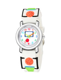 Fashion White 6d Embossed Basketball Sports Childrens Watch