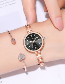 Fashion Rose Gold Black Surface Small Dial Thin Strap Water Diamond British Bracelet Watch