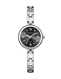 Fashion Silver With Black Face Small Dial Thin Strap Water Diamond British Bracelet Watch