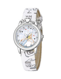 Fashion White Childrens Watch With Diamond Princess Pattern Silver Shell Digital Face Printing Belt