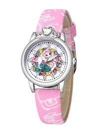 Reloj Para Niños Con Cinturón De Diamantes Y Concha De Plata Con Patrón De Princesa