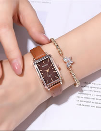 Fashion Brown Belt Brown Surface Rectangular Case Thin Strap Quartz Watch