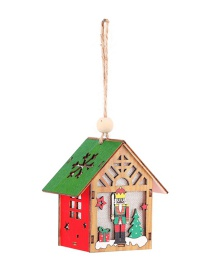 Fashion Luminous Wooden House (with Electronics) Christmas Luminous Assembly Assembled Wooden Walnut Soldier Handmade Gift Pendant For Children