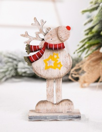Fashion Five-pointed Star Reindeer Ornament Wooden Assembled Christmas Elk Hotel Window Desktop Counter Decoration