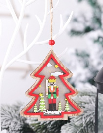 Fashion Christmas Tree (with Electronics) Wooden Walnut Soldier With Light Car Five-pointed Star House Pendant