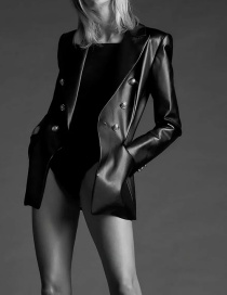 Fashion Black Faux Leather Double-breasted Blazer