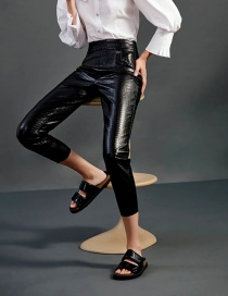 Fashion Black Faux Leather Stone Pattern Solid Color Narrow-leg Pants