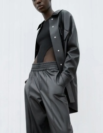 Fashion Black Faux Leather Panel Single-breasted Jacket