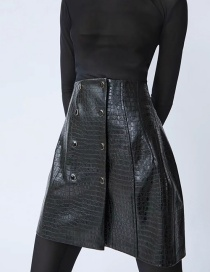 Fashion Black Faux Leather Double-breasted Stone-print Skirt