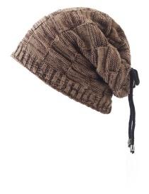 Fashion Multi-use Khaki Plaid Plus Fleece Bib Head Cap Multi-purpose