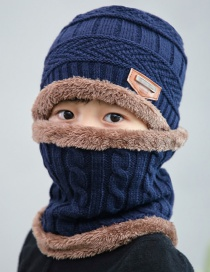 Fashion Navy Blue Childrens Knitted Hat And Scarf Set With Thick Warm Letter Mark