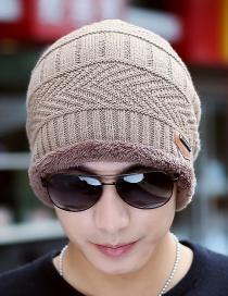 Fashion Single Cap Khaki Letter Logo Plus Velvet Knitted Hat And Scarf Two-piece Set