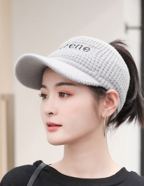 Fashion Gray Wool Letter Empty Top Hat Knitted Hat