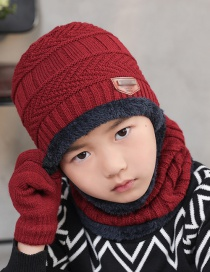 Fashion Childrens Wine Red Letter Logo Knitted Wool Hat Scarf Gloves Three-piece Suit