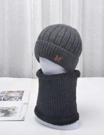 Fashion Dark Gray Letter Logo Wool Plus Velvet Thick Stretch Knitted Woolen Hat