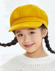 Fashion Mango Yellow Stitching Solid Color Childrens Octagonal Hat