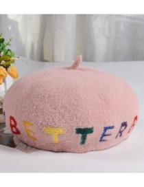 Fashion Pink Wool Blend Alphabet Beret