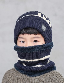 Fashion Navy Two-piece Childrens Thick Letter Wool Hat And Scarf