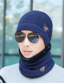 Fashion Navy Two-piece Mens Knitted Hat And Scarf With Velvet Leaf Label