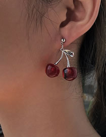 Fashion Red Resin Cherry Alloy Earrings