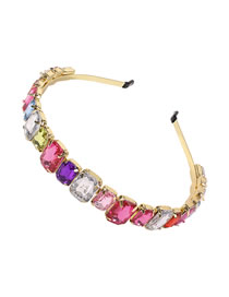Fashion Color Rectangle Alloy Headband With Glass Diamonds