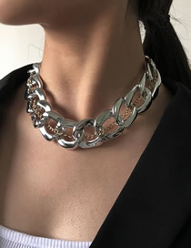 Fashion White K Thick Chain Alloy Hollow Necklace
