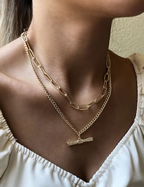 Fashion Golden One-shaped Alloy Multilayer Necklace