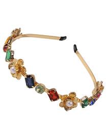 Fashion Color Diamond-studded Pearl Flower Geometric Alloy Headband