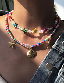 Fashion Color Starfish Shell Pearl Clay Multi-layer Necklace