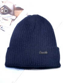 Fashion Navy Blue Mens Wool Knitted Hat With Metal Letters