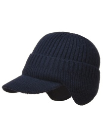 Fashion Navy Blue Thickened Ear Protection Knitted Mens Woolen Hat