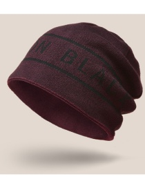 Fashion Wine Red Mens Knitted Hat With Jacquard Woolen Letters