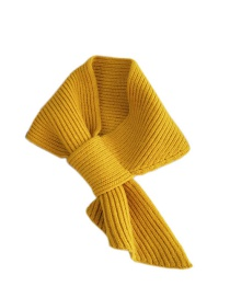 Fashion Solid Yellow Pure Color Socket Knitted Wool Scarf