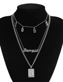 Fashion Silver Letters Diamond Geometric Alloy Multilayer Necklace