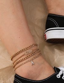 Fashion Golden Multi-layer Alloy Anklet With Letters And Diamonds